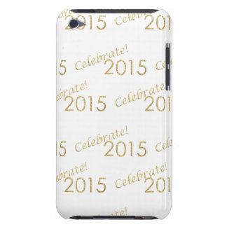 New Year's 2015 Gold Glitter on White Barely There iPod Covers