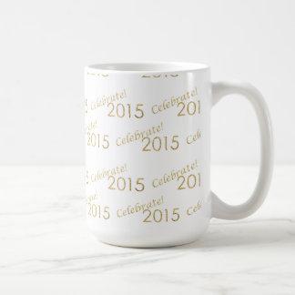 New Year's 2015 Gold Glitter on White Coffee Mug