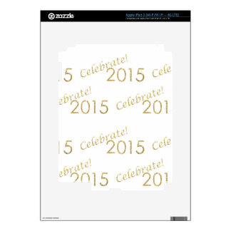 New Year's 2015 Gold Glitter on White Decal For iPad 3