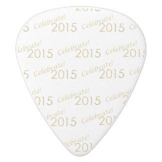 New Year's 2015 Gold Glitter on White White Delrin Guitar Pick