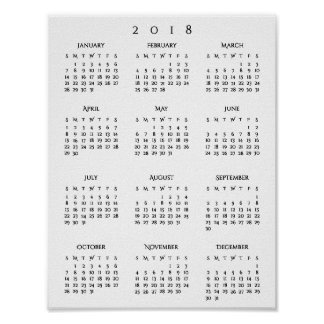 New Years 2018 Yearly Calendar Home Room Office Poster