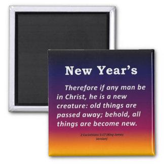 New Year's 2 Corinthians 5-17 Refrigerator Magnets