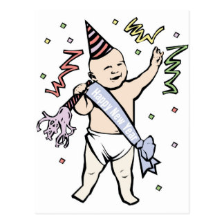 NEW YEAR'S BABY POSTCARD