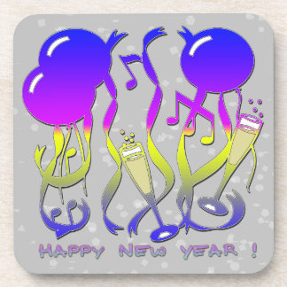 New Years - Balloons, Streamers, Champagne Glasses Drink Coasters