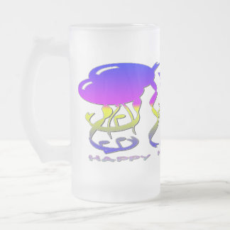 New Years - Balloons, Streamers, Champagne Glasses Frosted Glass Beer Mug