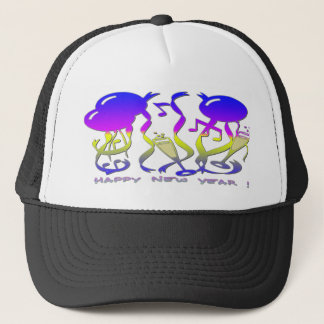 New Years - Balloons, Streamers, Champagne Glasses Trucker Hat