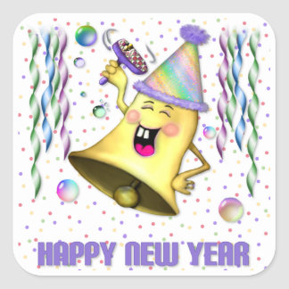 New Years Bell Party Square Sticker