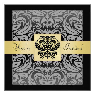 New Years Black Mask Damask Gold Ribbon Invitation