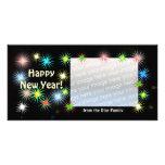New Years Black Starblast Photo Card Template