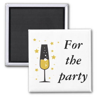 New Years Bubbly 2 Inch Square Magnet