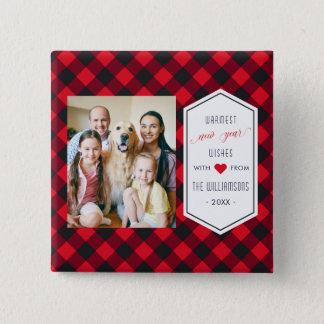 New Years Buffalo Plaid Holiday Greeting Photo Pinback Button