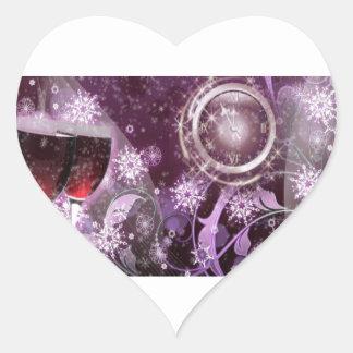 New Year's Celebration Heart Sticker