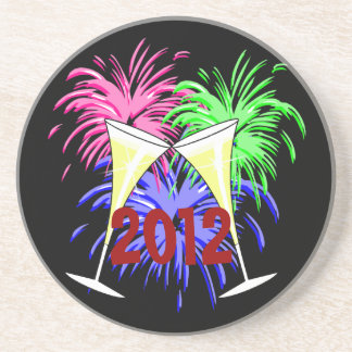New Year's Champagne And Fire Works Coaster
