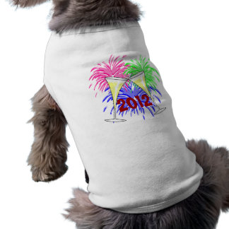New Year's Champagne And Fire Works Dog Shirt