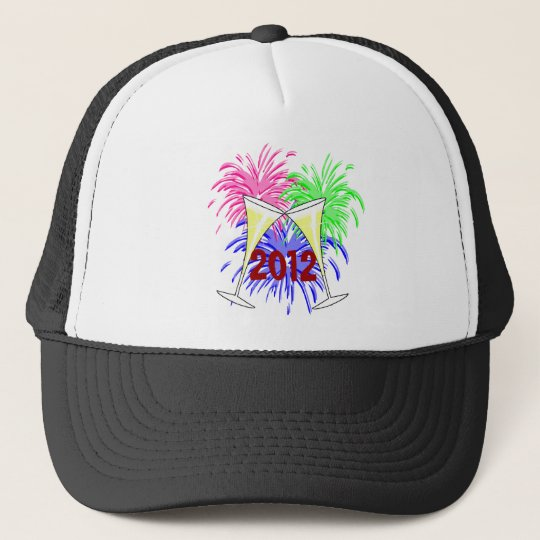 New Year's Champagne And Fire Works Hat