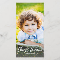 New Year's Cheers To 2018 Gold Confetti Photo Holiday Card