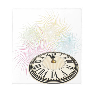 New Years Clock and Fireworks Scratch Pad