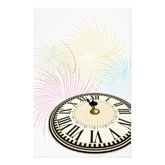 New Years Clock and Fireworks Stationery