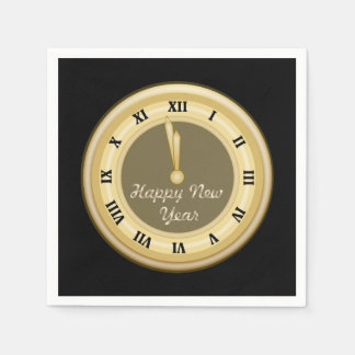 New Years clock Holiday paper napkins