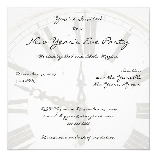 New Year's Countdown Clock Party Invitations