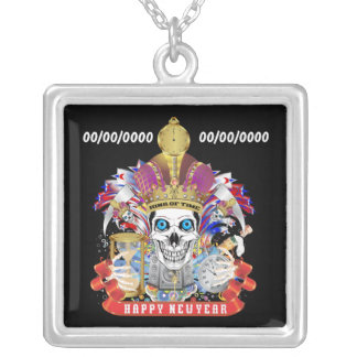 New Years Customize Edit & Change background color Silver Plated Necklace