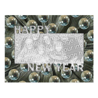 New Years Cut Out Photo Frame - Disco Balls Postcard
