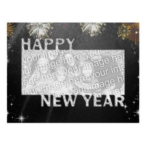 New Years Cut Out Photo Frame - Fireworks Postcard