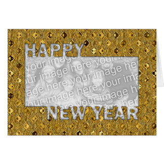New Years Cut Out Photo Frame - Gold Sequins Card