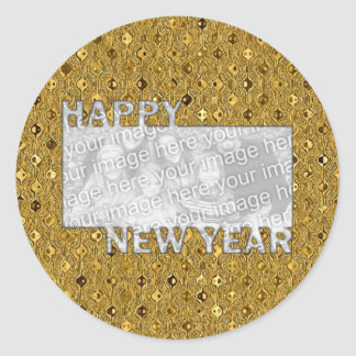 New Years Cut Out Photo Frame - Gold Sequins Classic Round Sticker