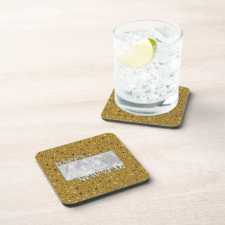 New Years Cut Out Photo Frame - Gold Sequins Drink Coasters