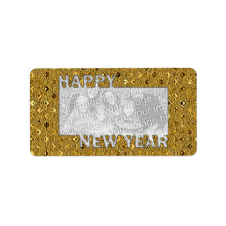 New Years Cut Out Photo Frame - Gold Sequins Label