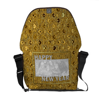 New Years Cut Out Photo Frame - Gold Sequins Messenger Bags