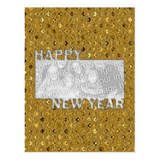 New Years Cut Out Photo Frame - Gold Sequins Postcard