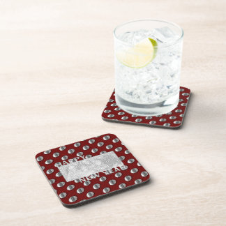 New Years Cut Out Photo Frame Medallion Coasters
