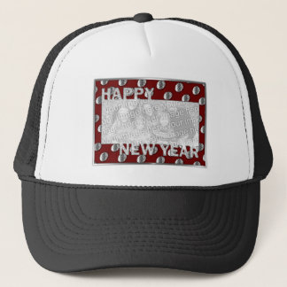 New Years Cut Out Photo Frame Medallion Trucker Hat