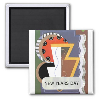 New Years Day Art Deco Magnet by Janz
