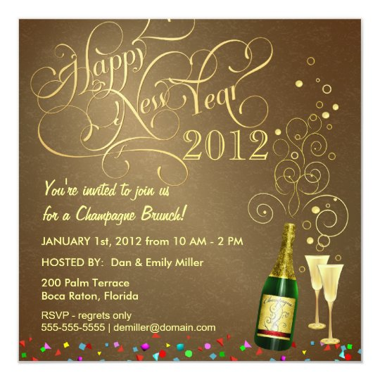 new years day party champagne brunch invitation