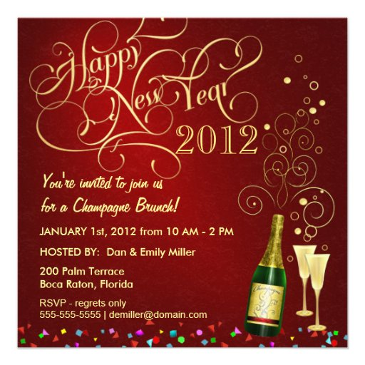 New Year's Day Party - Champagne Brunch Custom Invitations