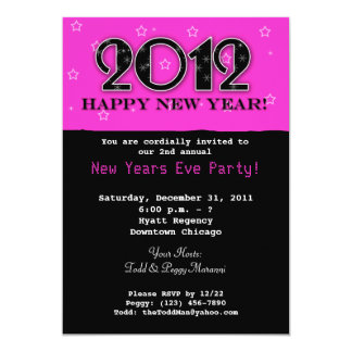 New Years Eve 2012 Party Invitation - Hot Pink