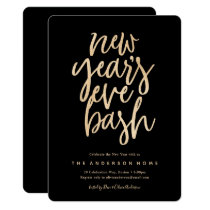 New Years Eve Bash Faux Glitter Party Invitation