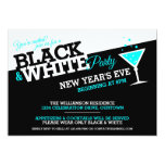 New Years Eve Black and White Party Invitations