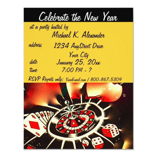 new years eve casino theme party invitation
