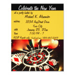 New Year's Eve Casino Theme Party 4.25x5.5 Paper Invitation Card