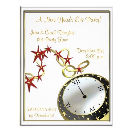 "New Year's Eve Clock Invitation 4.25"" X 5.5"" Invitation ..."