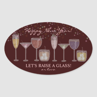 New Year's Eve Cocktail Party Invitation Sticker
