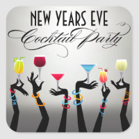 New Years Eve Cocktail Party Stickers