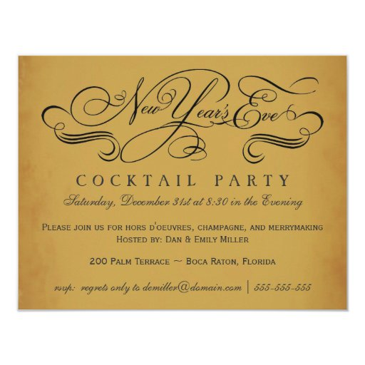 New Year's Eve Cocktail Party Vintage Invitations | Zazzle