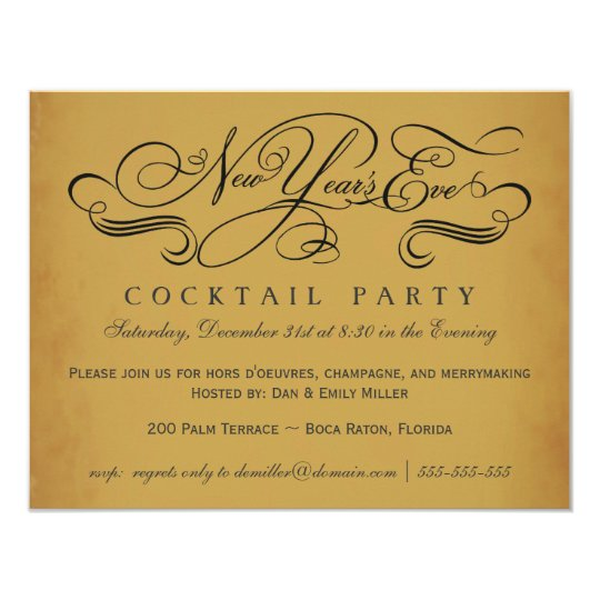 New Year's Eve Cocktail Party Vintage Invitations | Zazzle.com