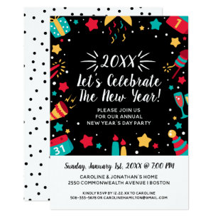 new years eve day party celebrate 2018 festive invitation