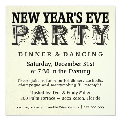 New years eve dinner party vintage invitations zazzle for Terrace new year party